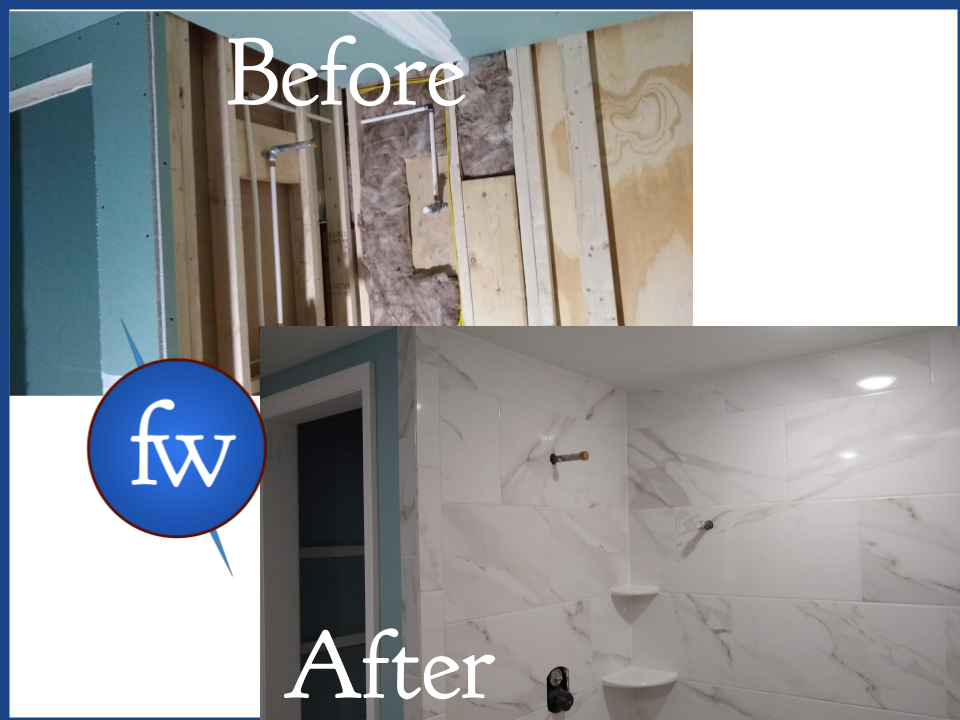 Before and After Tile Shower Project